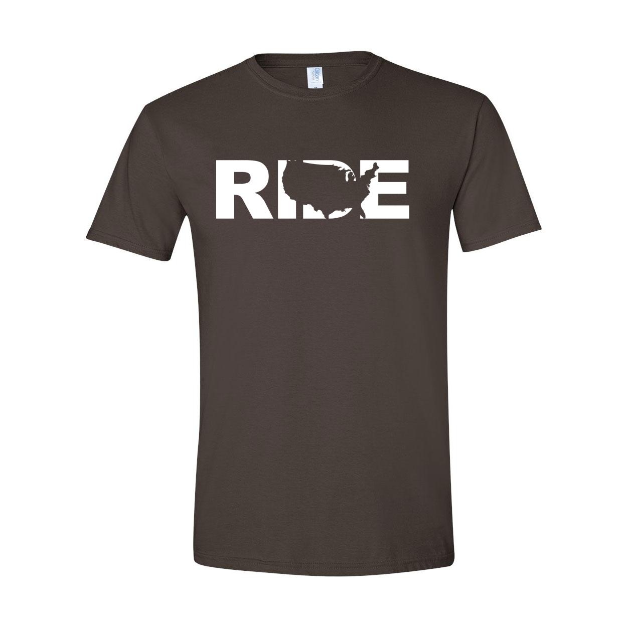 Ride United States Classic T-Shirt Dark Chocolate Brown (White Logo)