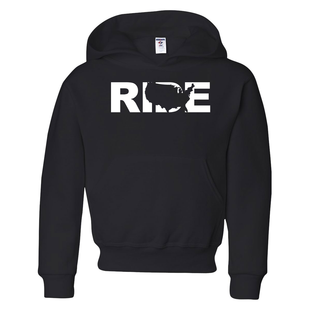 Ride United States Classic Youth Hoodie Black (White Logo)
