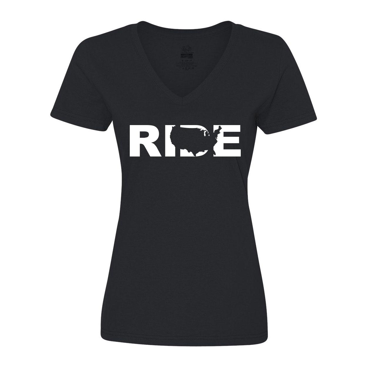 Ride United States Classic Womens V-Neck Shirt Black (White Logo)