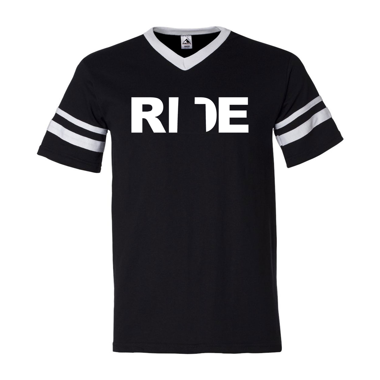 Ride Utah Classic Premium Striped Jersey T-Shirt Black/White (White Logo)