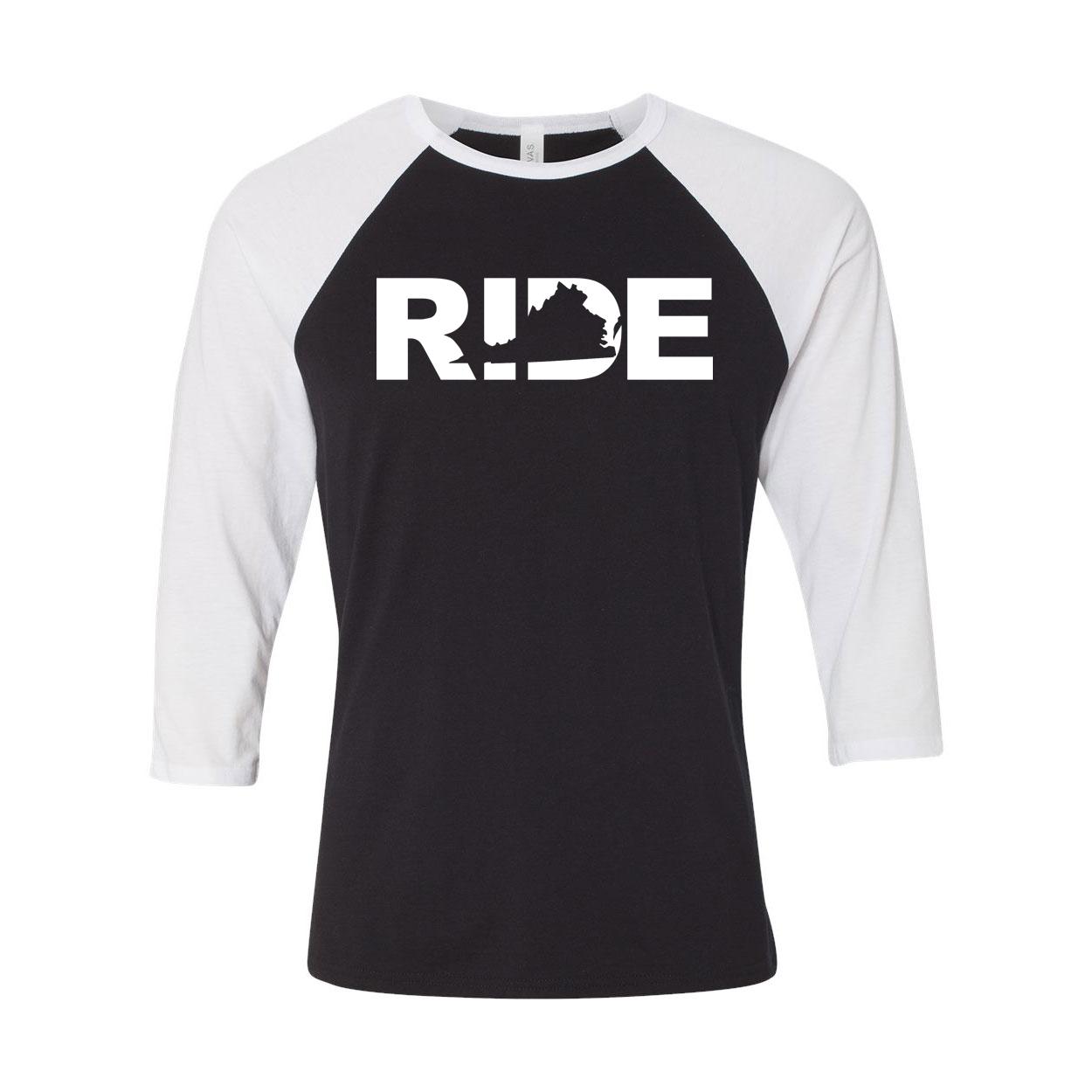 Ride Virginia Classic Raglan Shirt Black/White (White Logo)