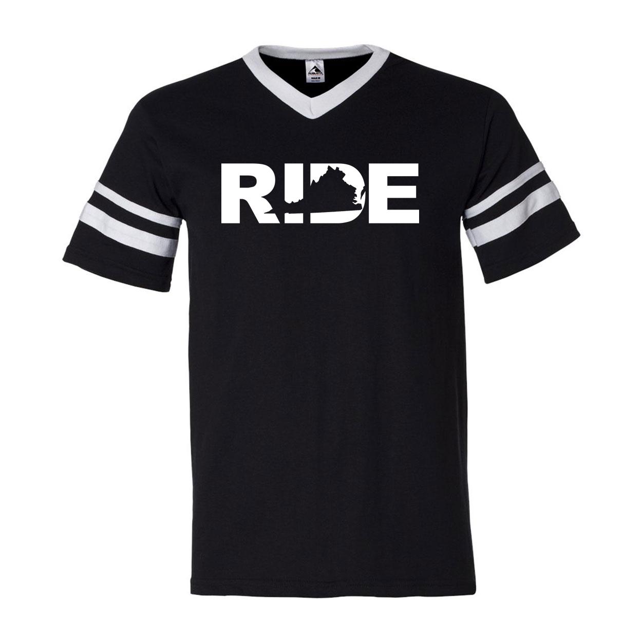 Ride Virginia Classic Premium Striped Jersey T-Shirt Black/White (White Logo)