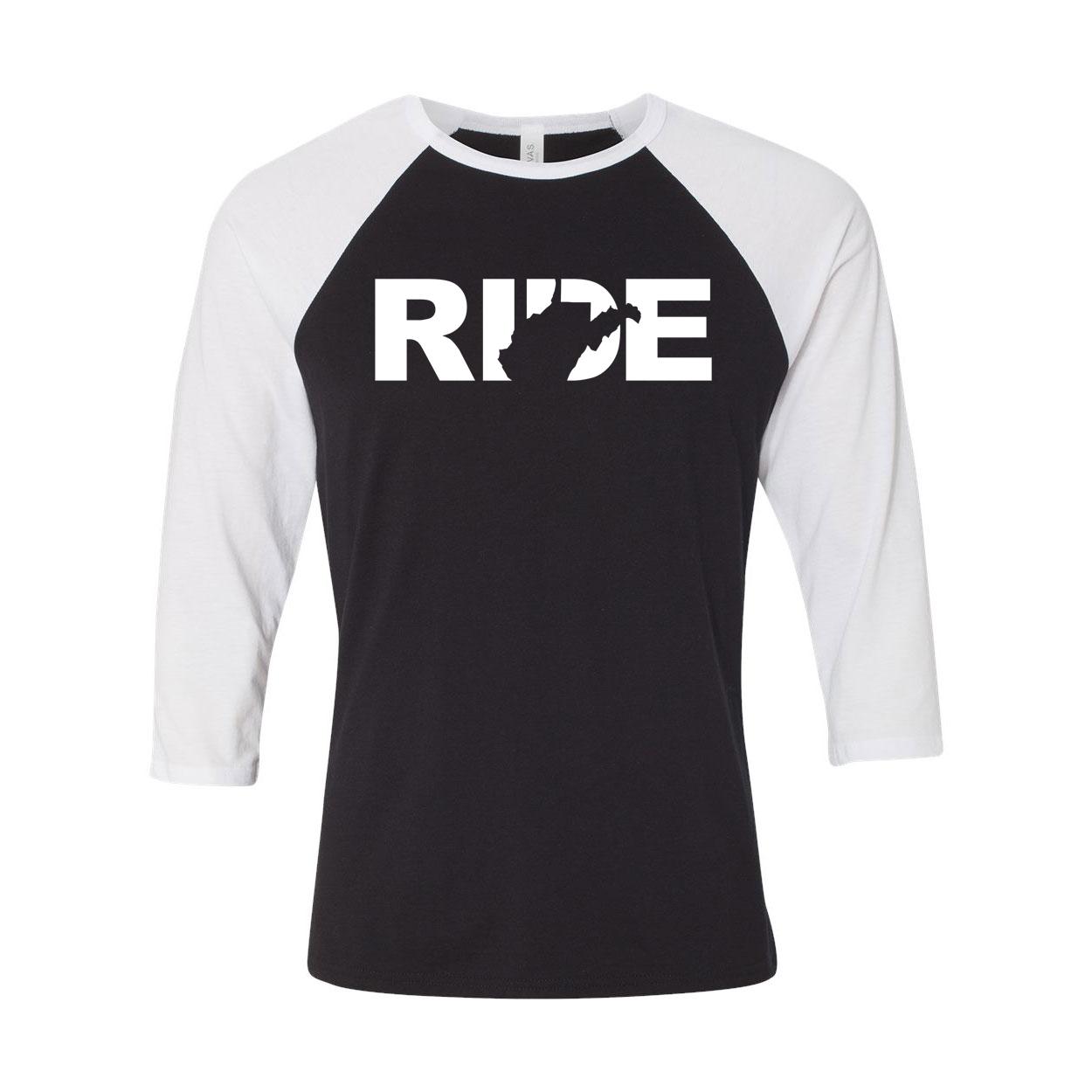 Ride West Virginia Classic Raglan Shirt Black/White (White Logo)