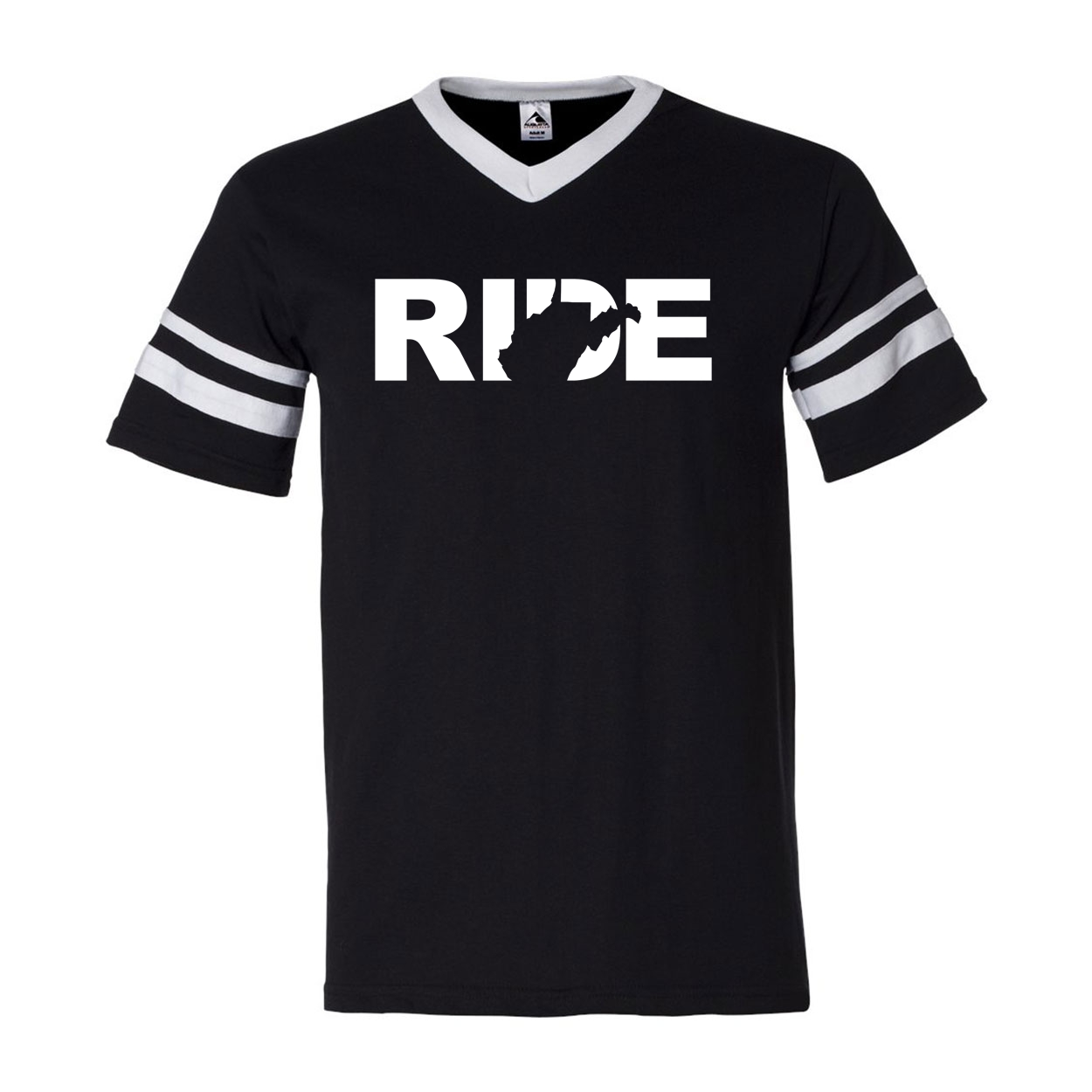 Ride West Virginia Classic Premium Striped Jersey T-Shirt Black/White (White Logo)