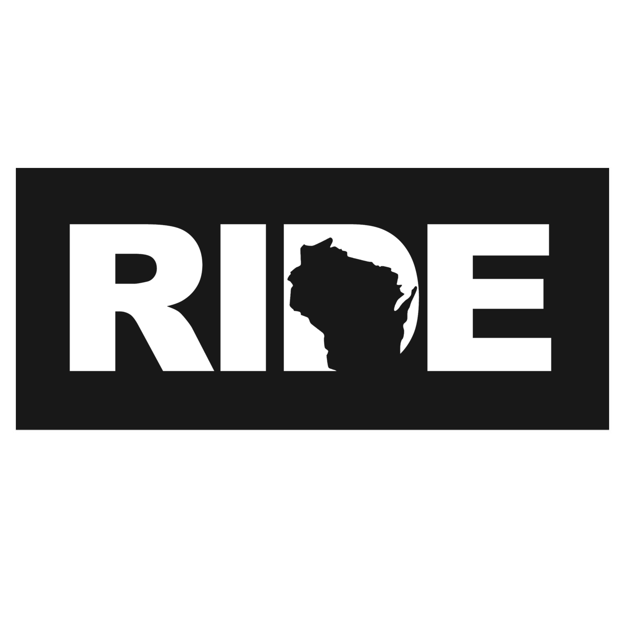 Ride Wisconsin Classic Hardboard Sign (White Logo)