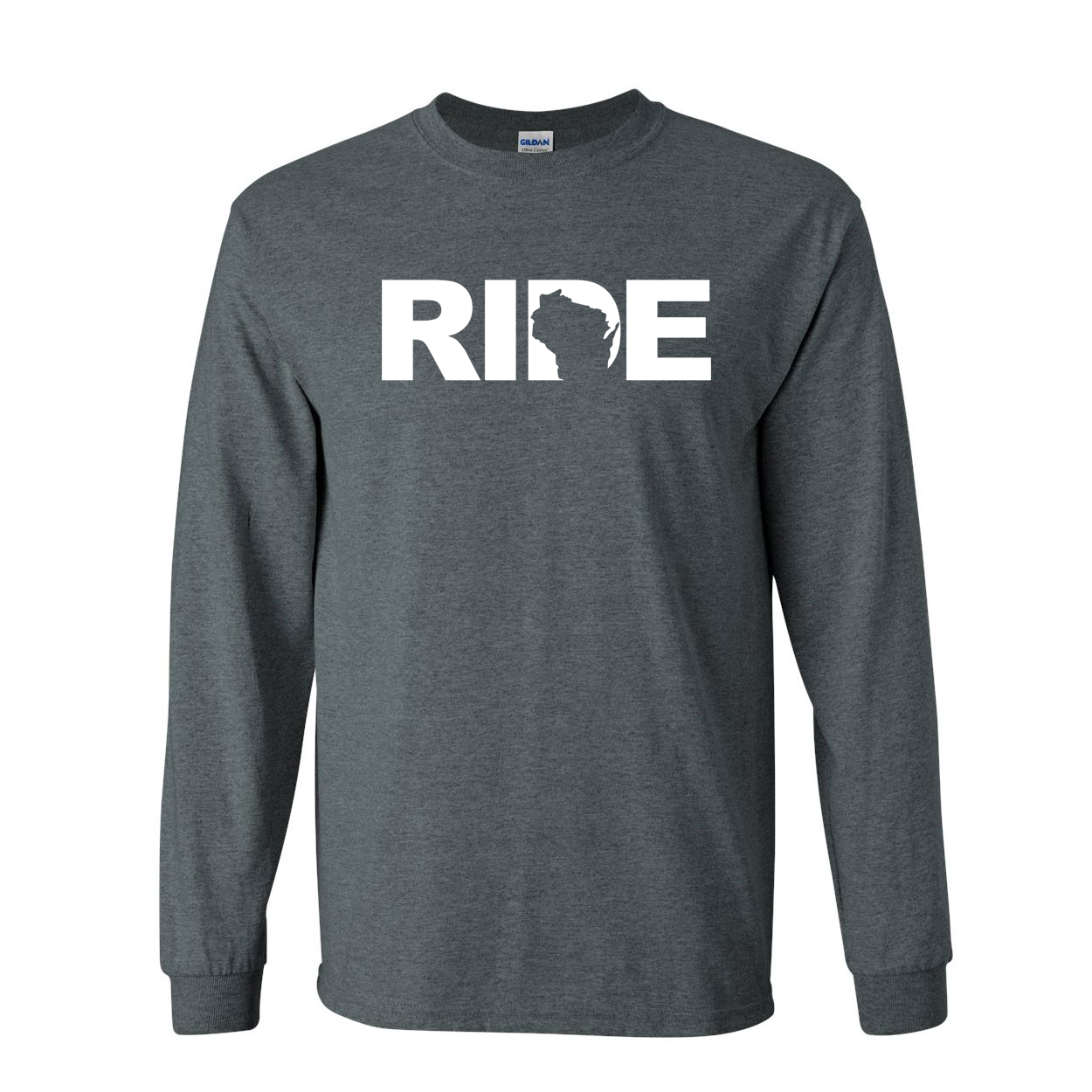 Ride Wisconsin Classic Long Sleeve T-Shirt Dark Heather (White Logo)