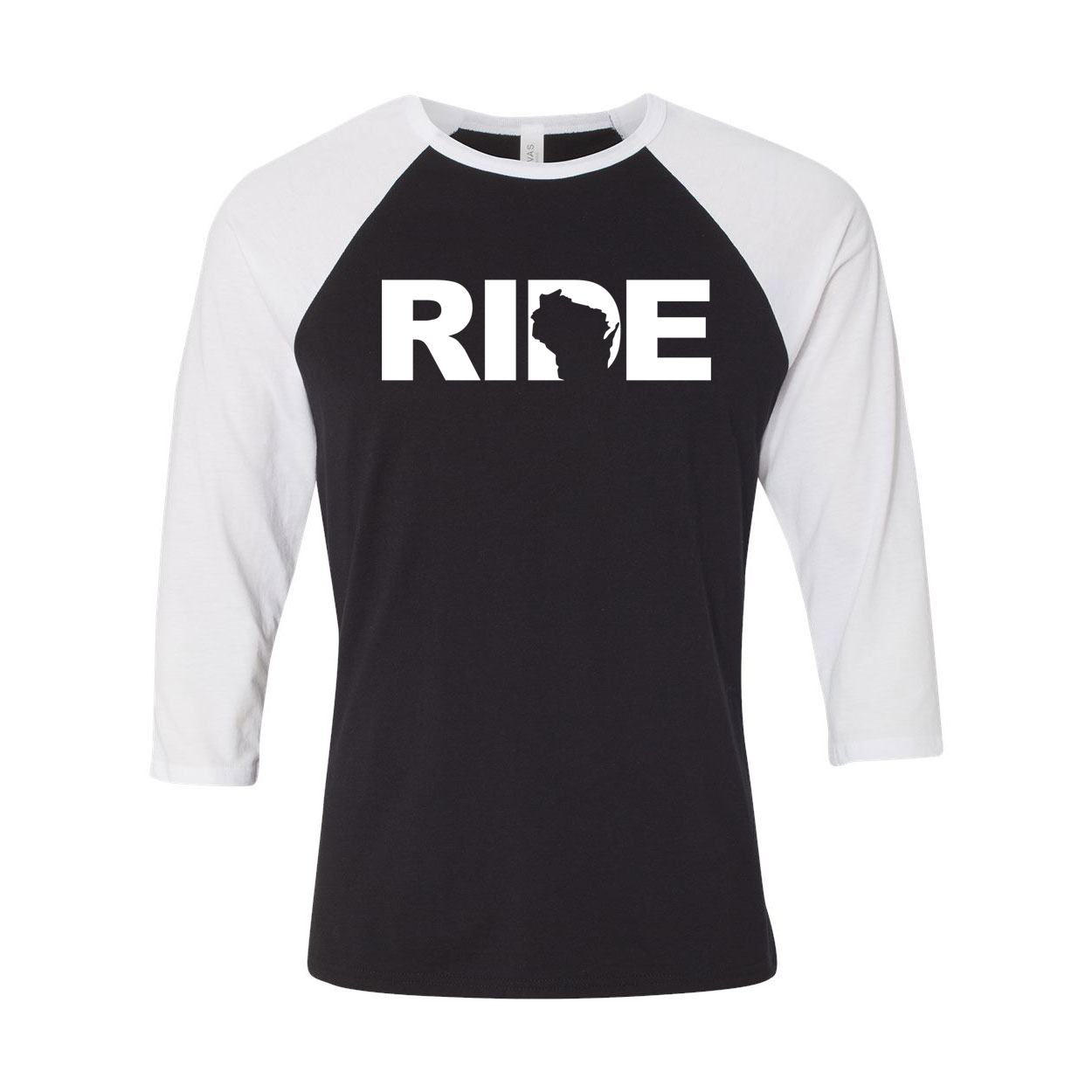 Ride Wisconsin Classic Raglan Shirt Black/White (White Logo)