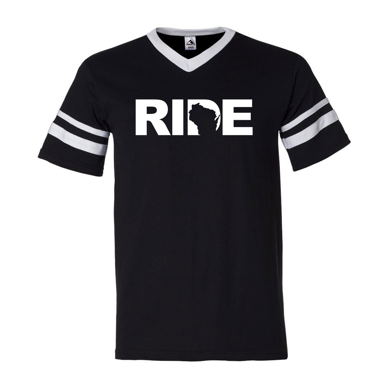 Ride Wisconsin Classic Premium Striped Jersey T-Shirt Black/White (White Logo)