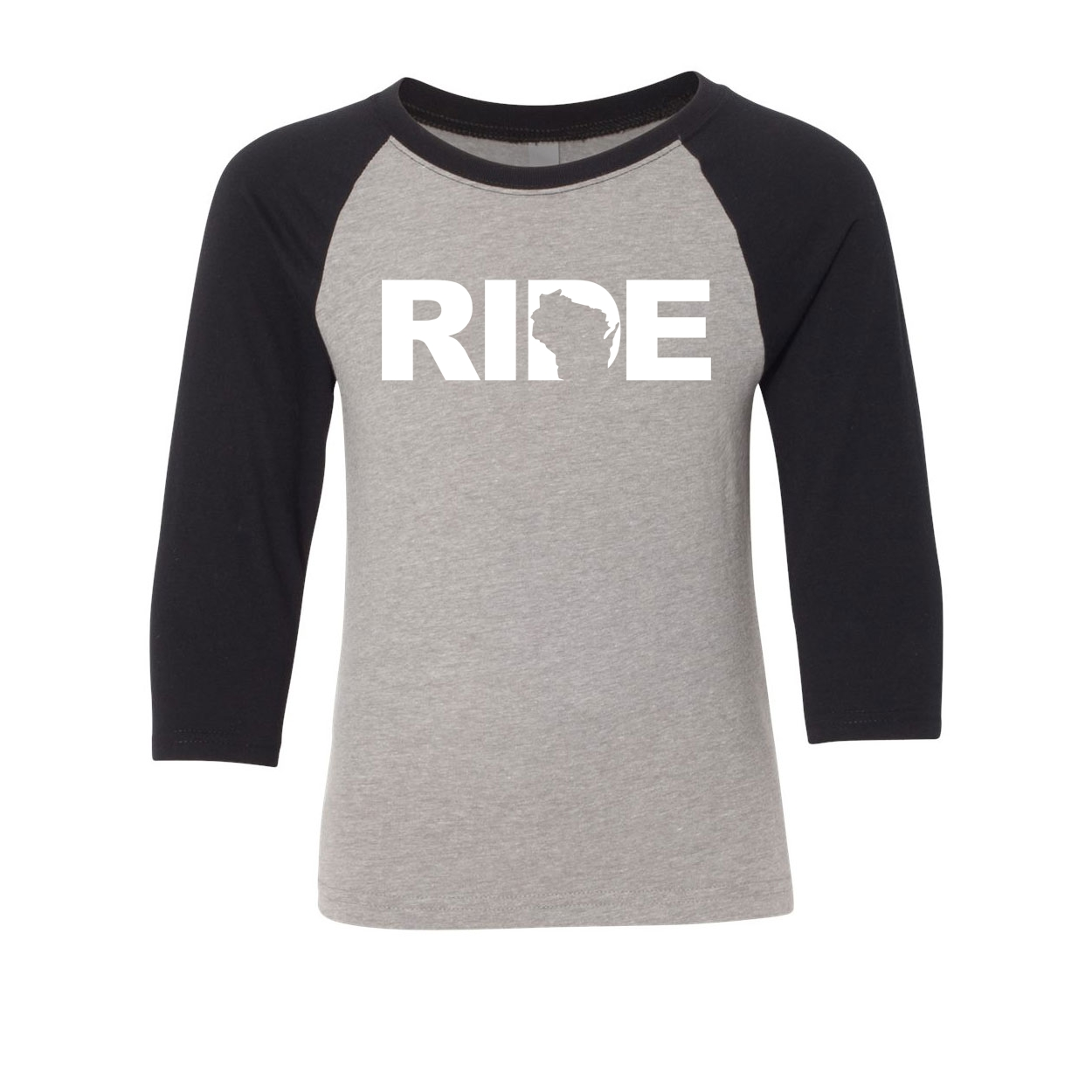 Ride Wisconsin Classic Youth Premium Raglan Shirt Gray/Black (White Logo)