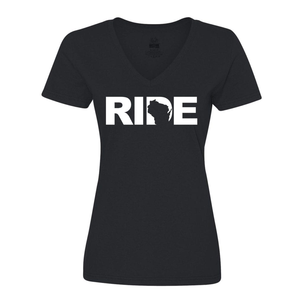 Ride Wisconsin Classic Women's V-Neck Shirt Black (White Logo)