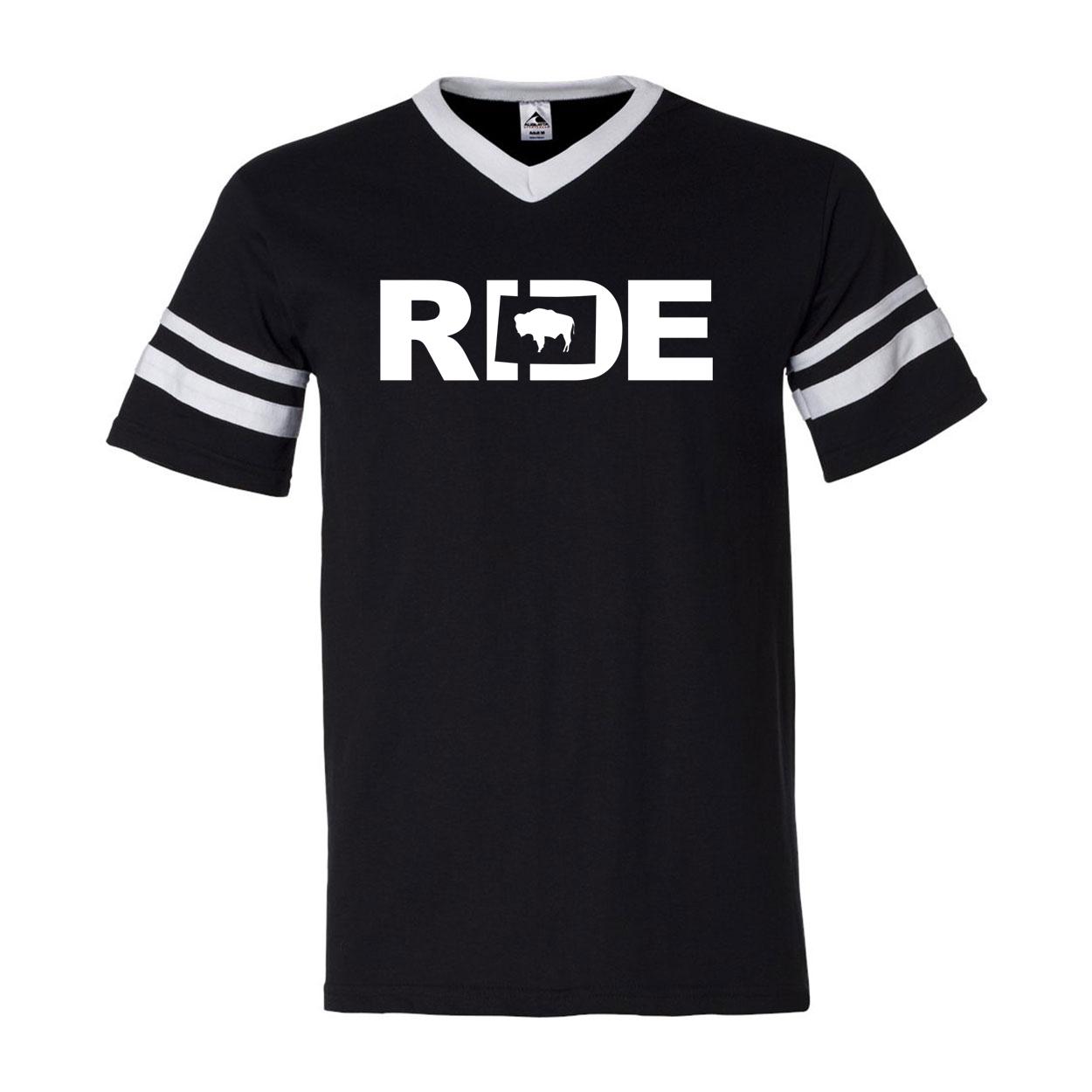 Ride Wyoming Classic Premium Striped Jersey T-Shirt Black/White (White Logo)
