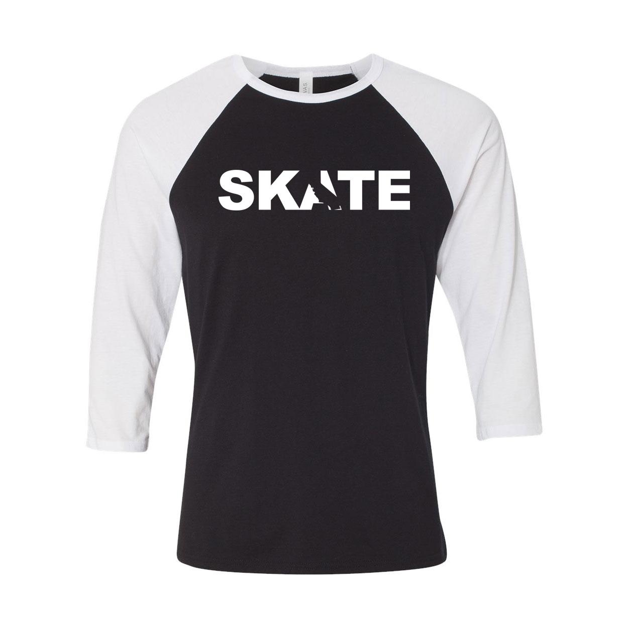 Skate California Classic Raglan Shirt Black/White (White Logo)