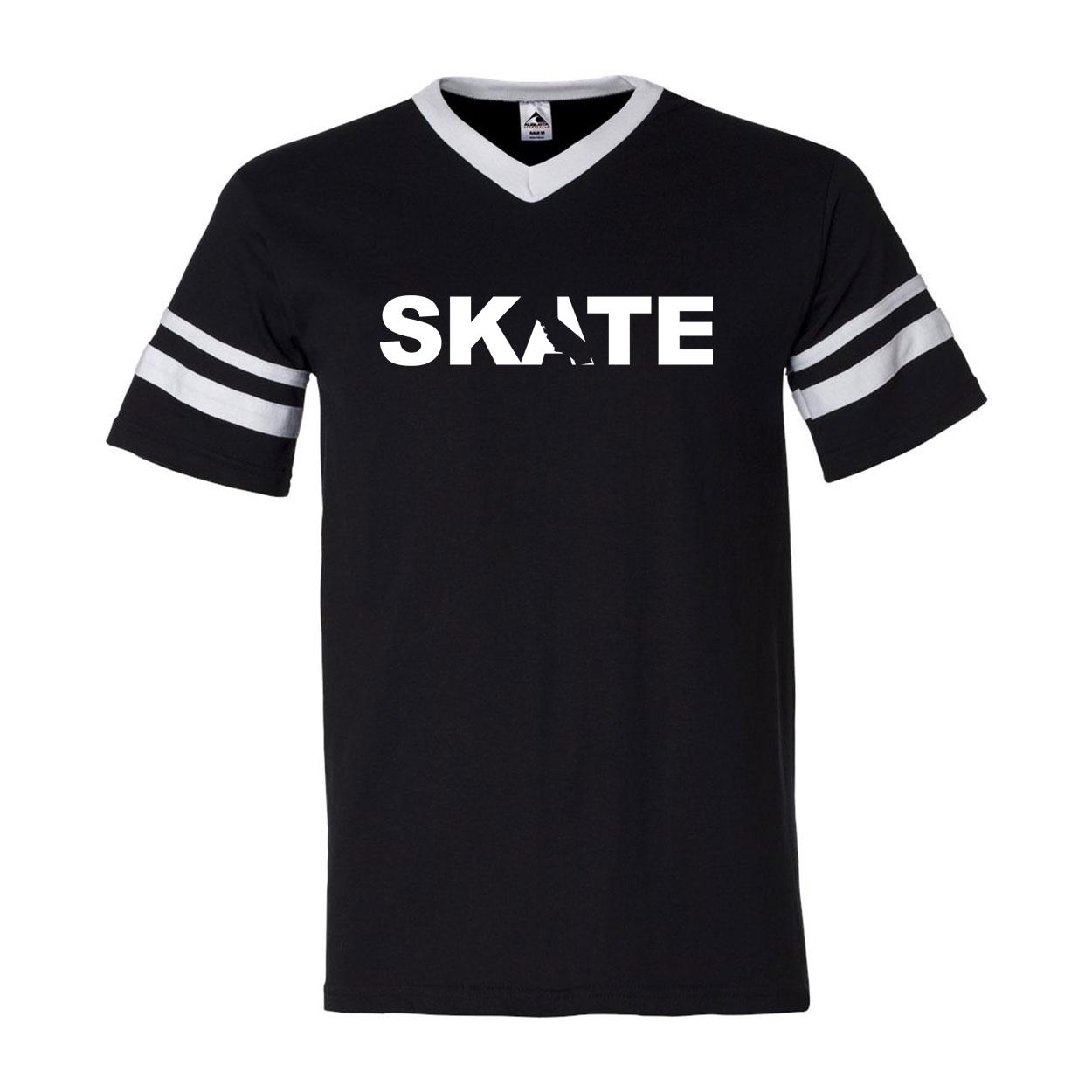 Skate California Classic Premium Striped Jersey T-Shirt Black/White (White Logo)
