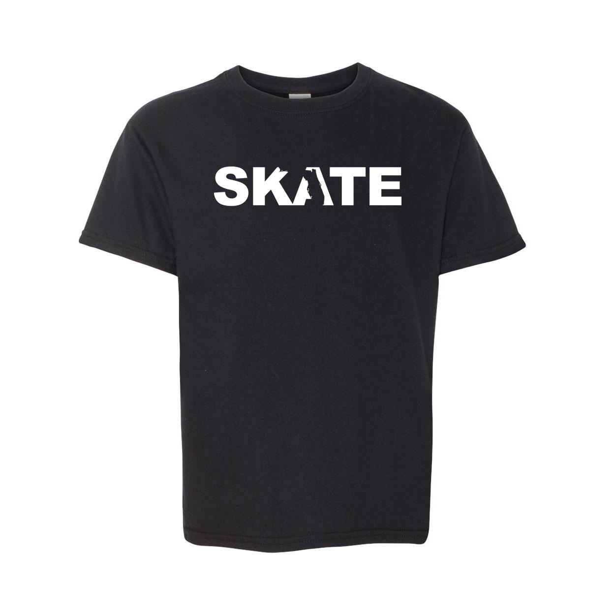 Skate Florida Classic Youth T-Shirt Black (White Logo)
