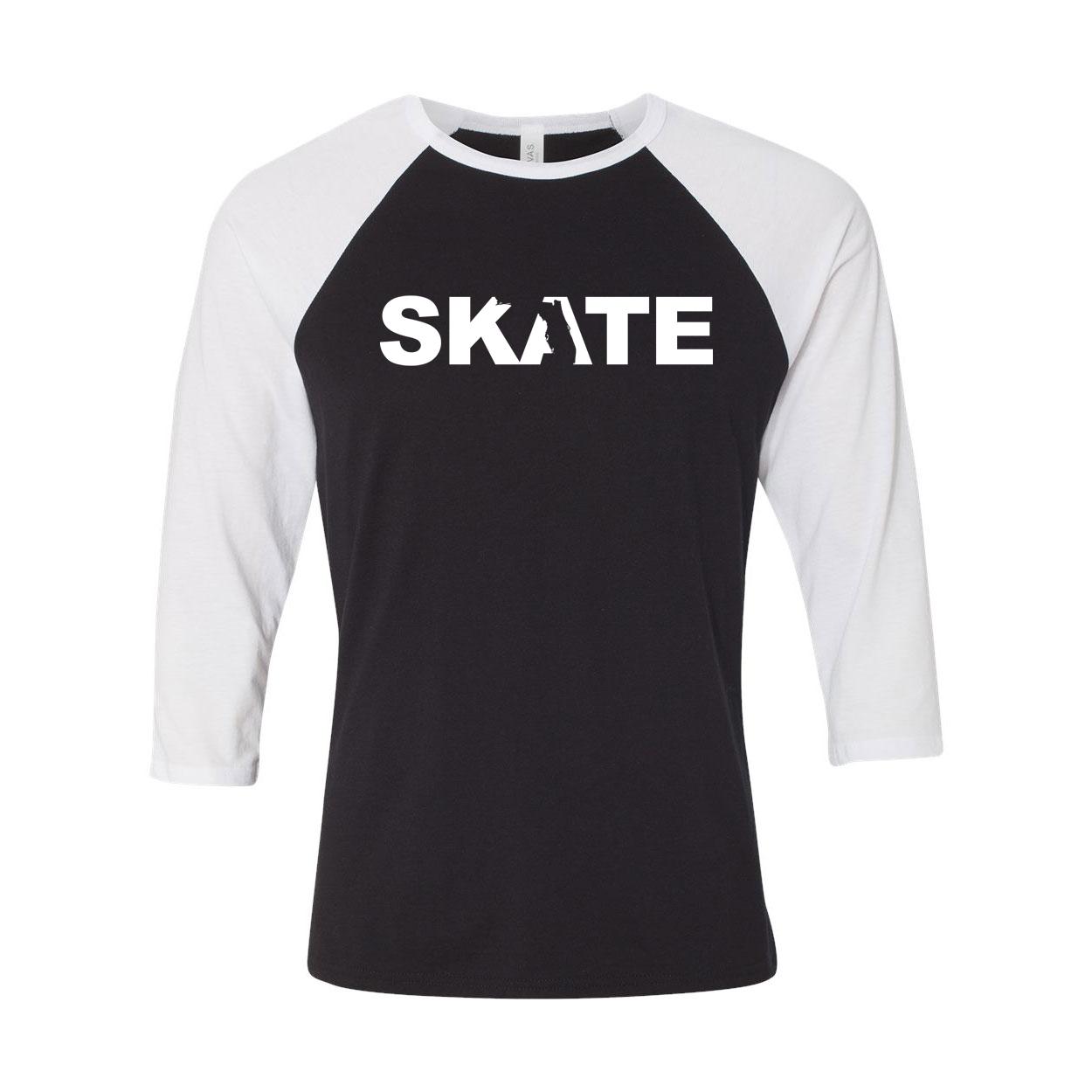 Skate Florida Classic Raglan Shirt Black/White (White Logo)