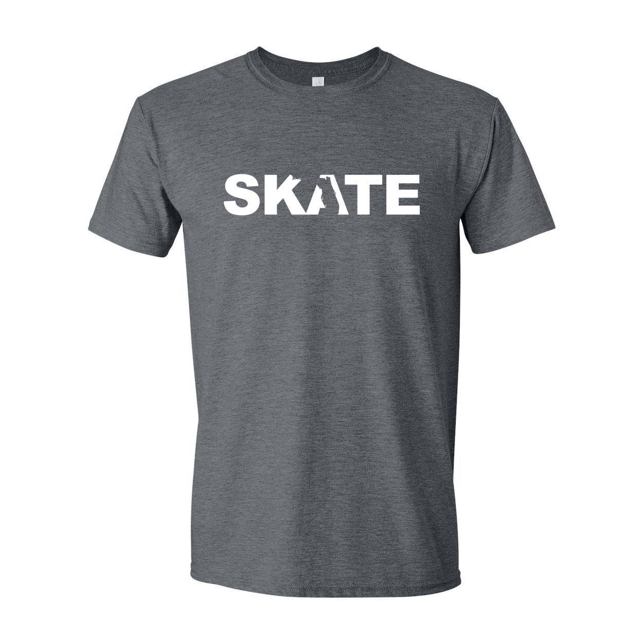 Skate Florida Classic T-Shirt Dark Heather Gray (White Logo)