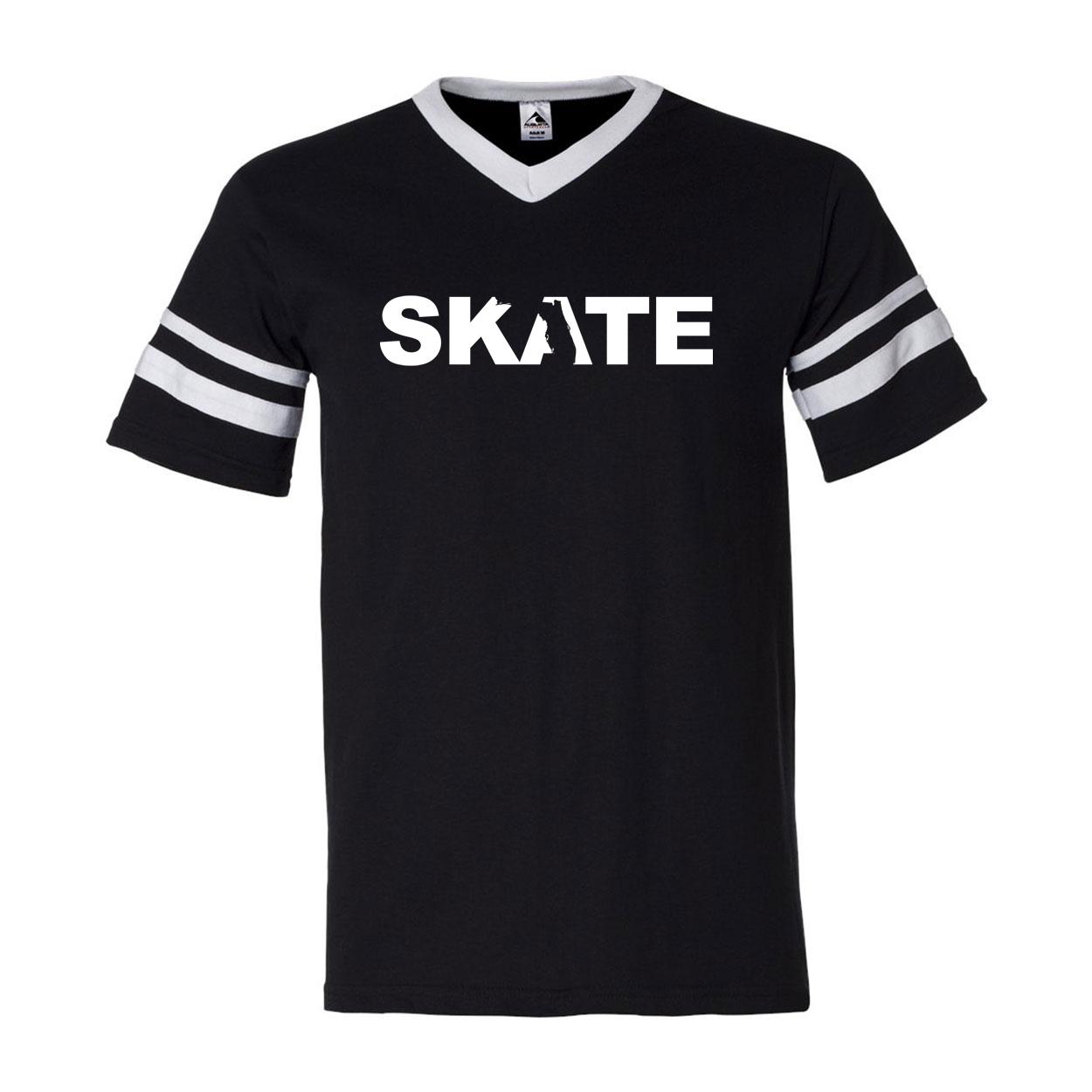 Skate Florida Classic Premium Striped Jersey T-Shirt Black/White (White Logo)