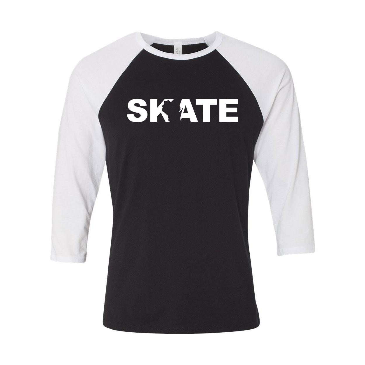 Skate Wisconsin Classic Raglan Shirt Black/White (White Logo)