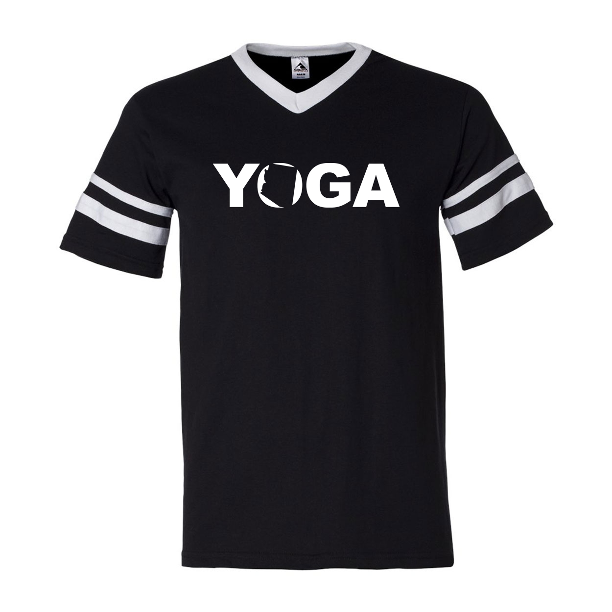 Yoga Arizona Classic Premium Striped Jersey T-Shirt Black/White (White Logo)