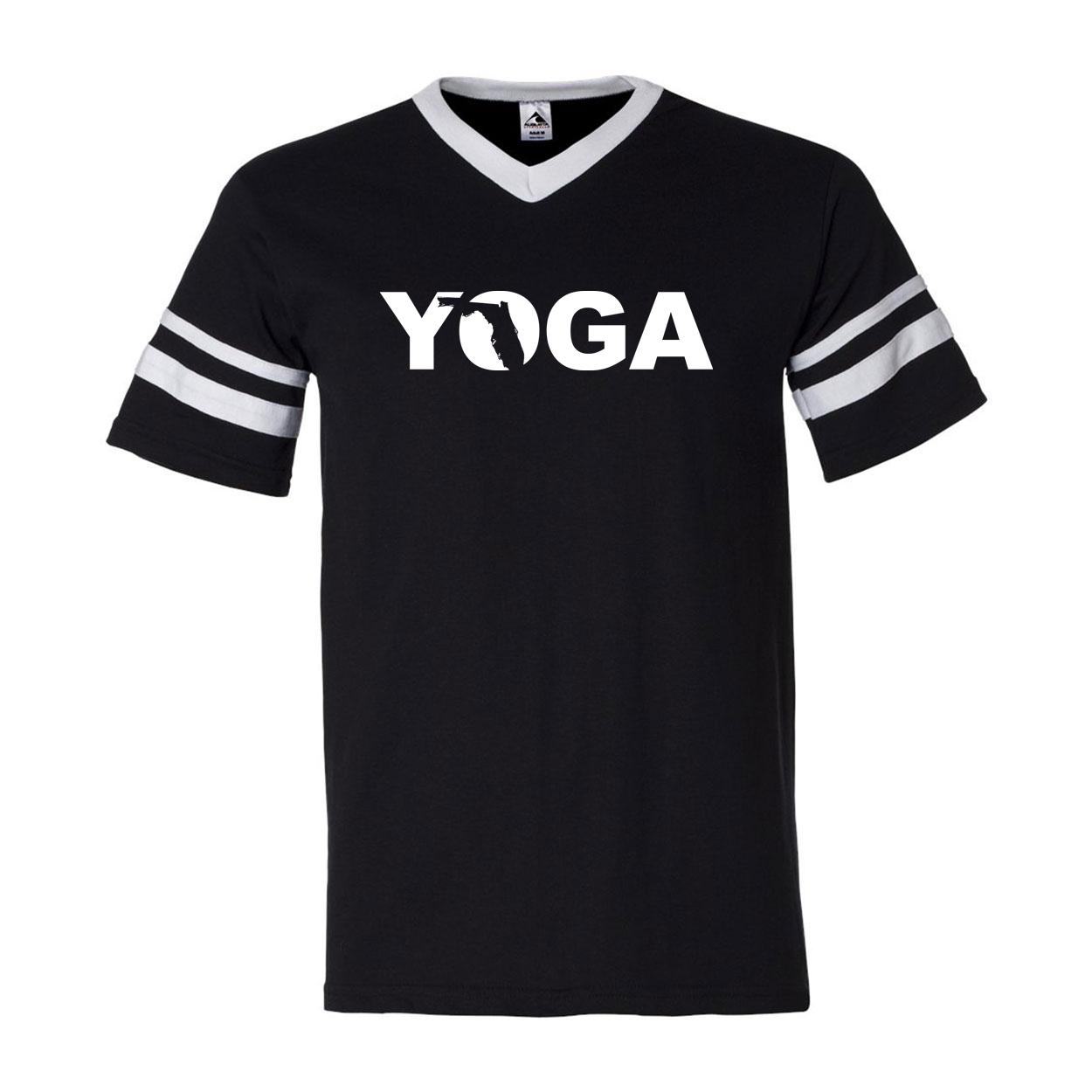 Yoga Florida Classic Premium Striped Jersey T-Shirt Black/White (White Logo)