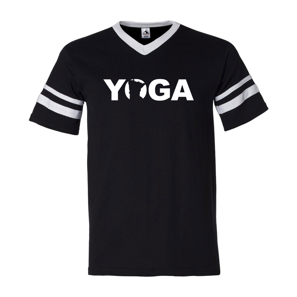 Yoga Minnesota Classic Premium Striped Jersey T-Shirt Black/White (White Logo)