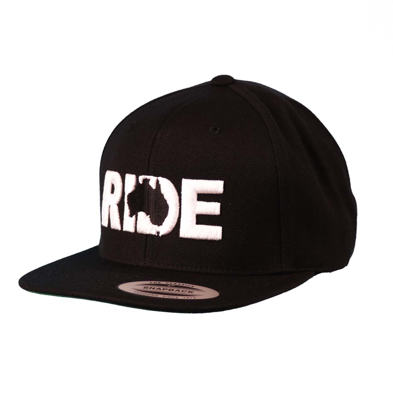 Ride Australia Classic Embroidered  Snapback Flat Brim Hat Black/White