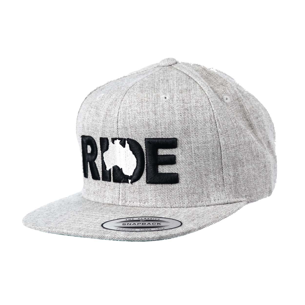 Ride Australia Classic Embroidered  Snapback Flat Brim Hat Gray/Black