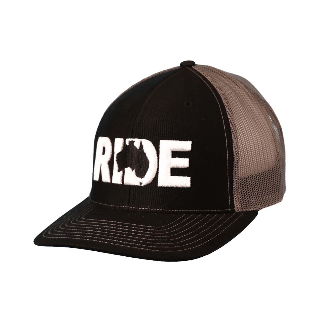 Ride Australia Classic Embroidered Snapback Trucker Hat Black/White