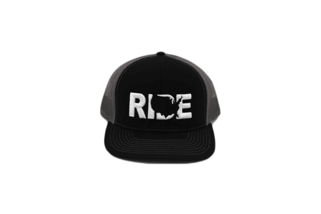 Ride United States Classic Embroidered Snapback Trucker Hat Black/White