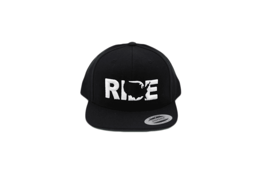 Ride United States Classic Embroidered Snapback Flat Brim Hat Black/White