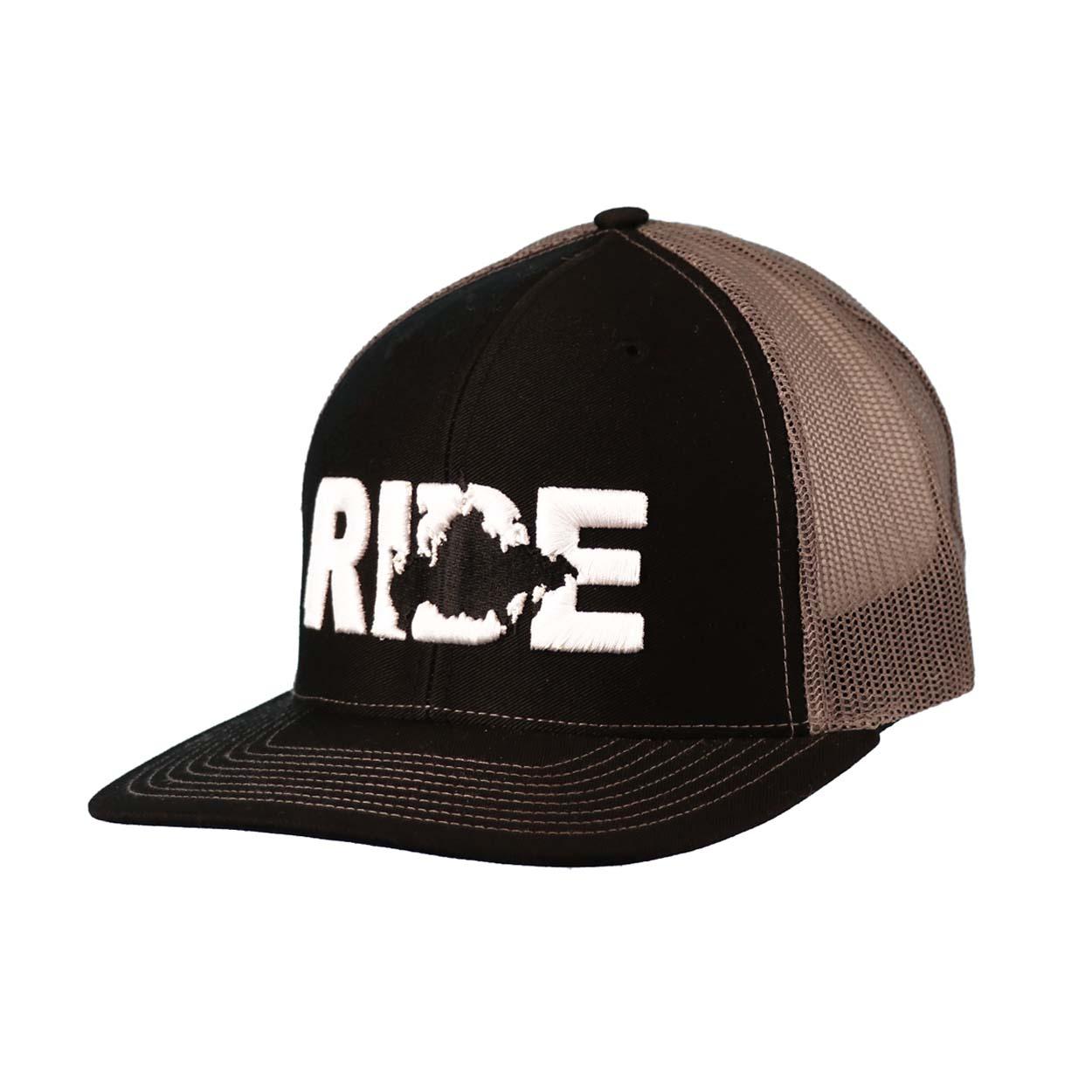 Ride Russia Classic Embroidered Snapback Trucker Hat Black/White