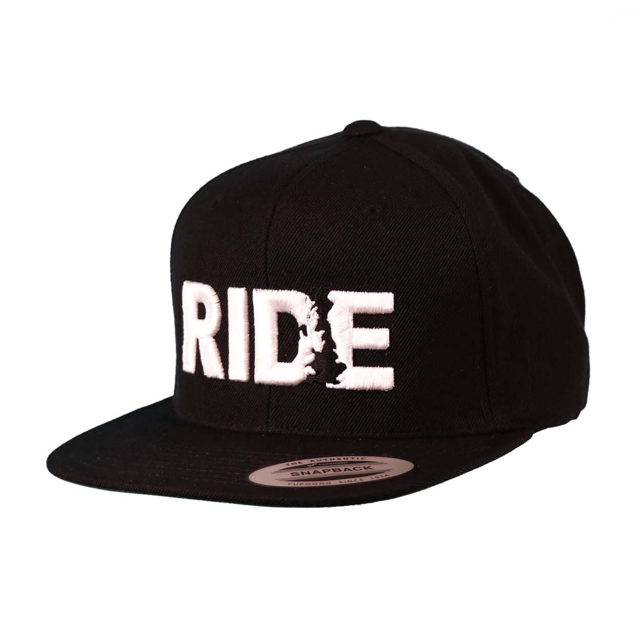 Ride United Kingdom Classic Embroidered Snapback Flat Brim Hat Black/White