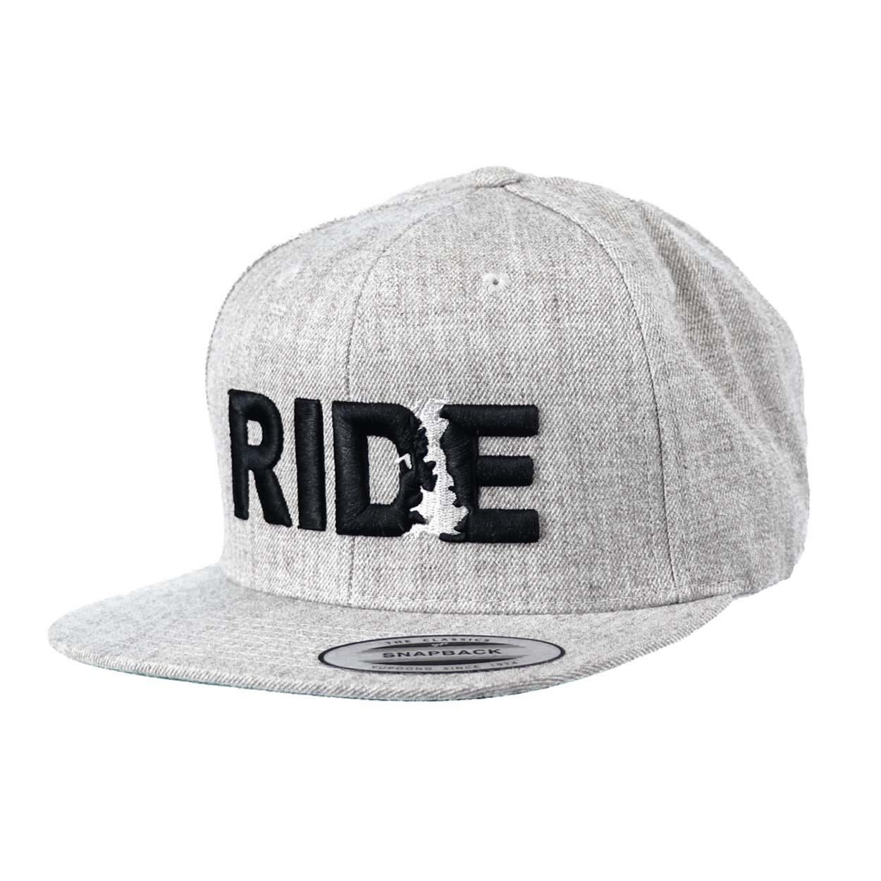 Ride United Kingdom Classic Embroidered Snapback Flat Brim Hat Gray/Black