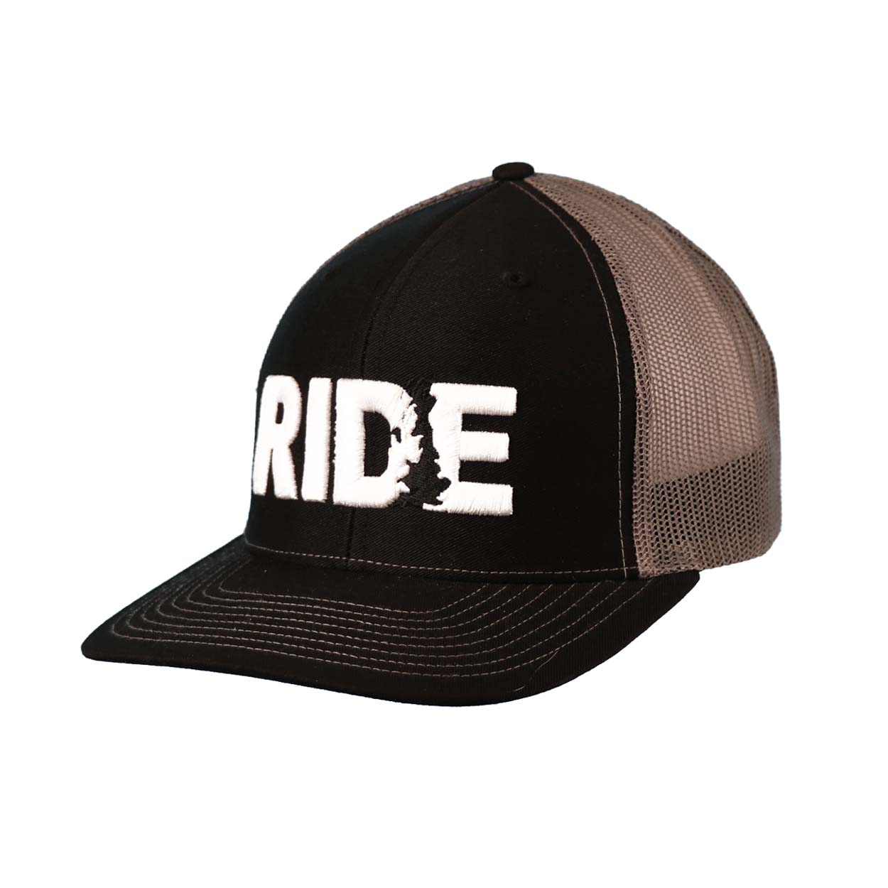 Ride United Kingdom Classic Embroidered Snapback Trucker Hat Black/White