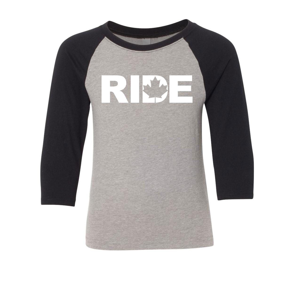 Ride Canada Classic Youth Premium Raglan Shirt Gray/Black (White Logo)