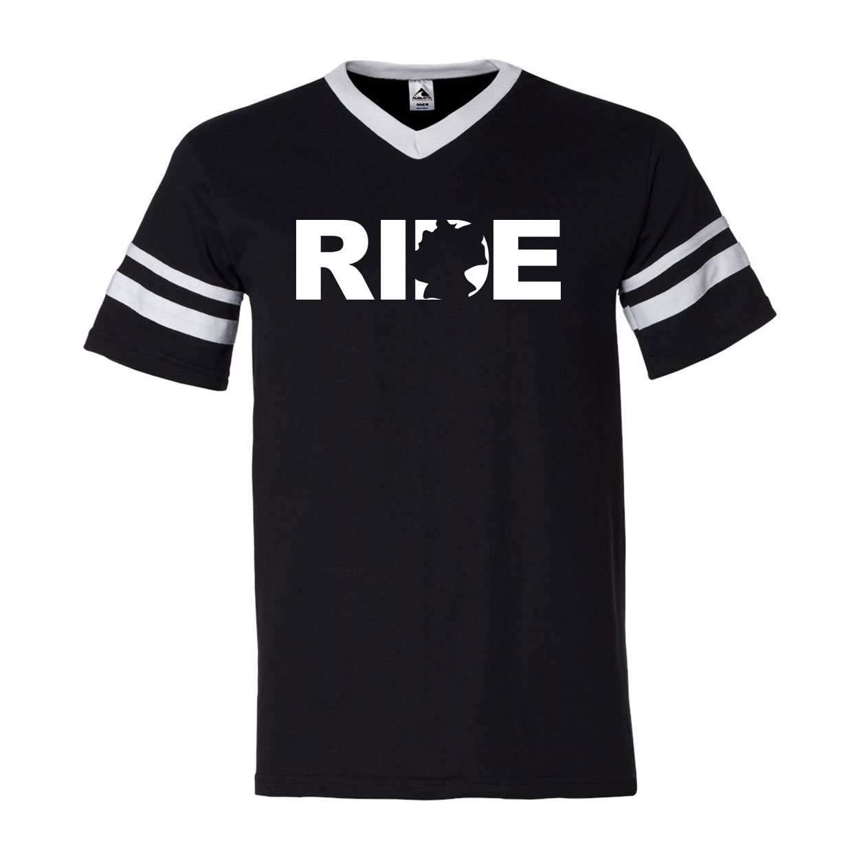 Ride Germany Classic Premium Striped Jersey T-Shirt Black/White (White Logo)
