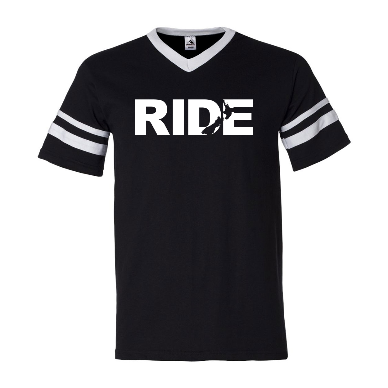Ride New Zealand Classic Premium Striped Jersey T-Shirt Black/White (White Logo)