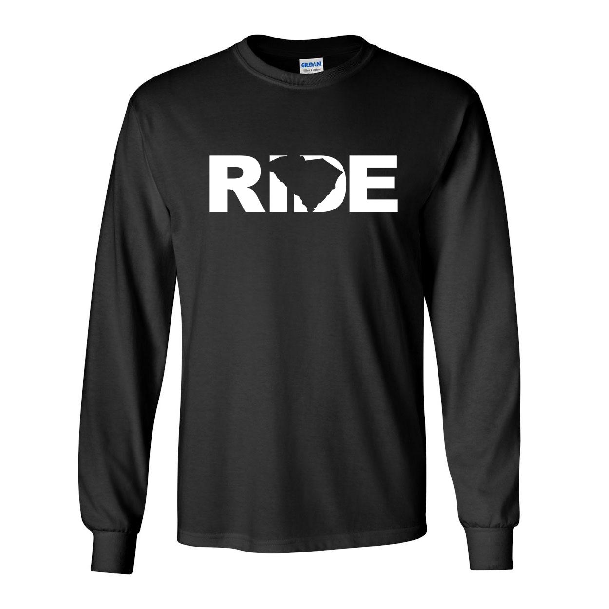 Ride South Carolina Classic Long Sleeve T-Shirt Black (White Logo)