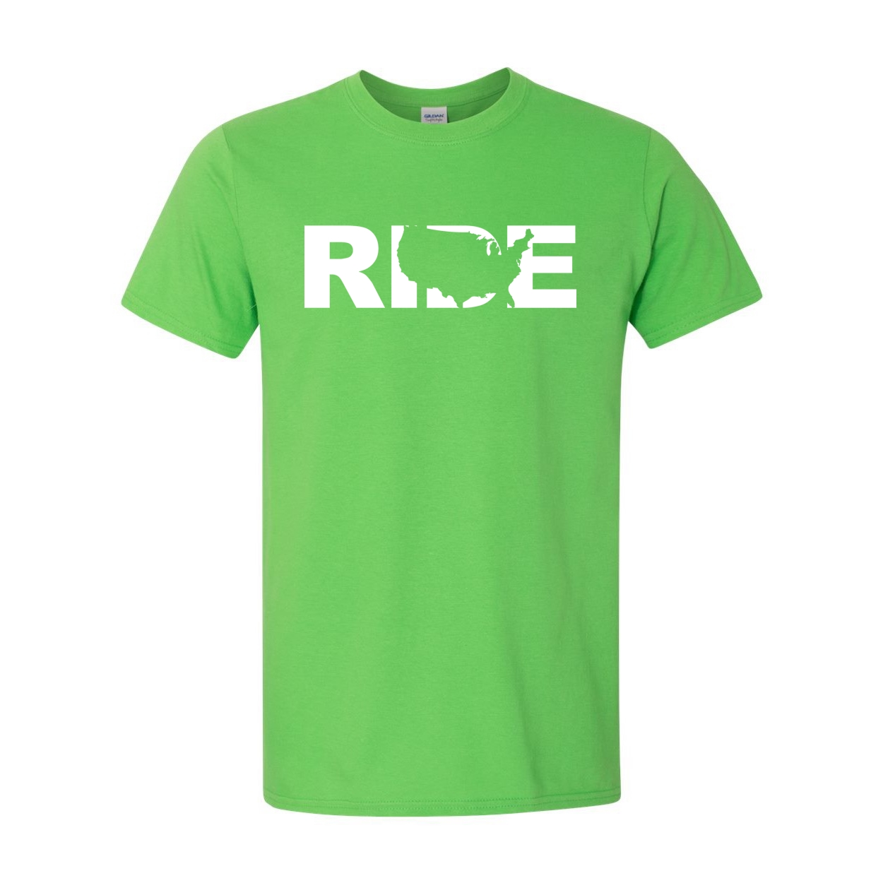 Ride United States Classic T-Shirt Electric Green (White Logo)