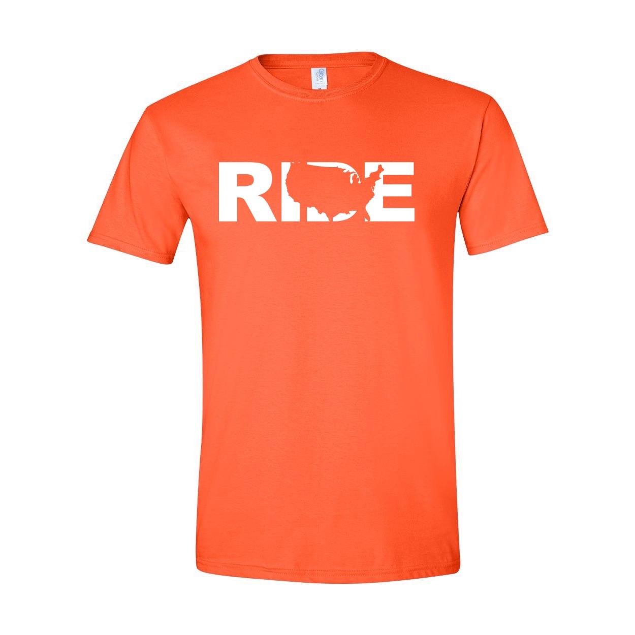 Ride United States Classic T-Shirt Orange (White Logo)