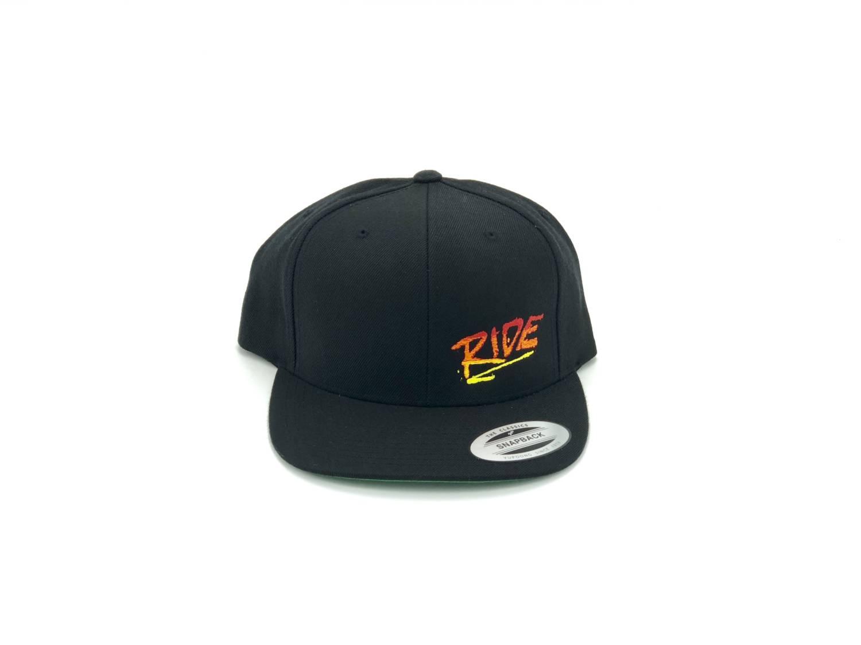Ride RAD Logo Night Out Embroidered Snapback Flat Brim Hat Black