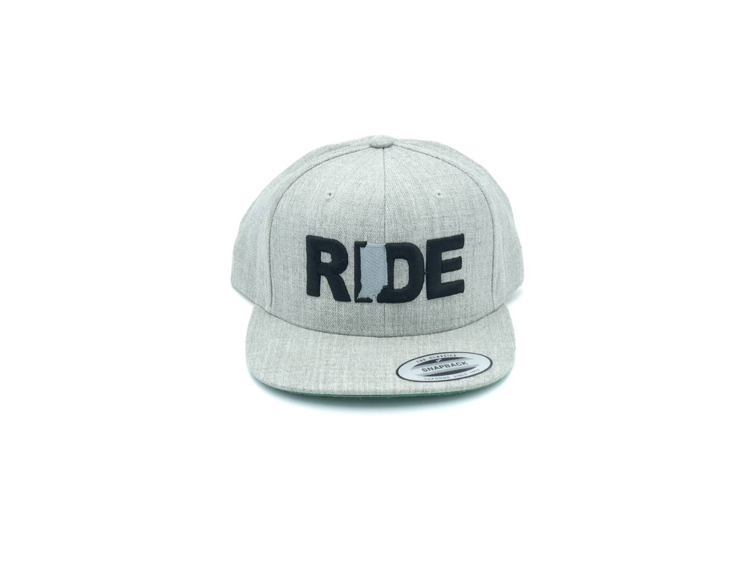 Ride Indiana Classic Embroidered  Snapback Flat Brim Hat Gray/Black