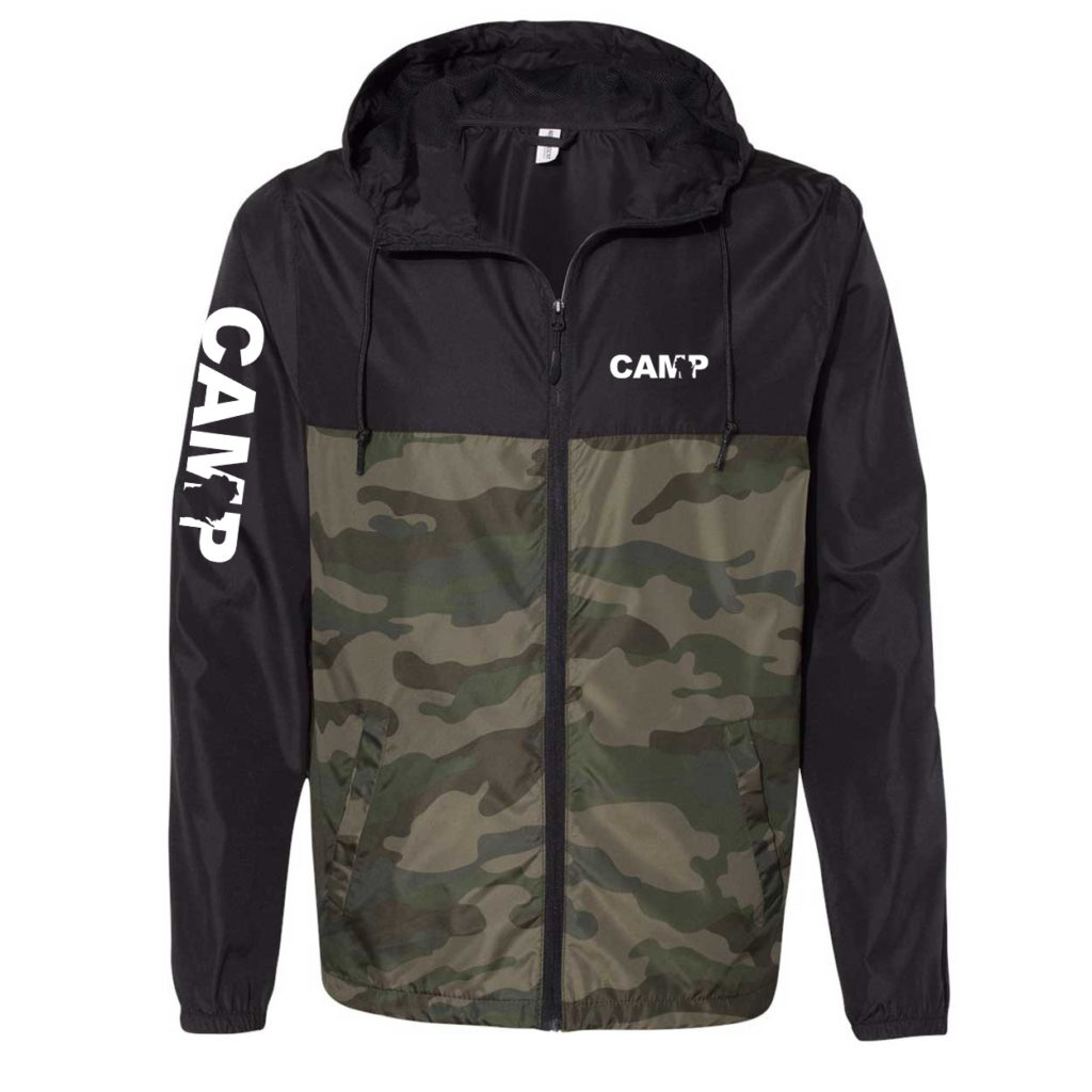 Camp Wisconsin Classic Lightweight Windbreaker Black/Forest Camo (White Logo)