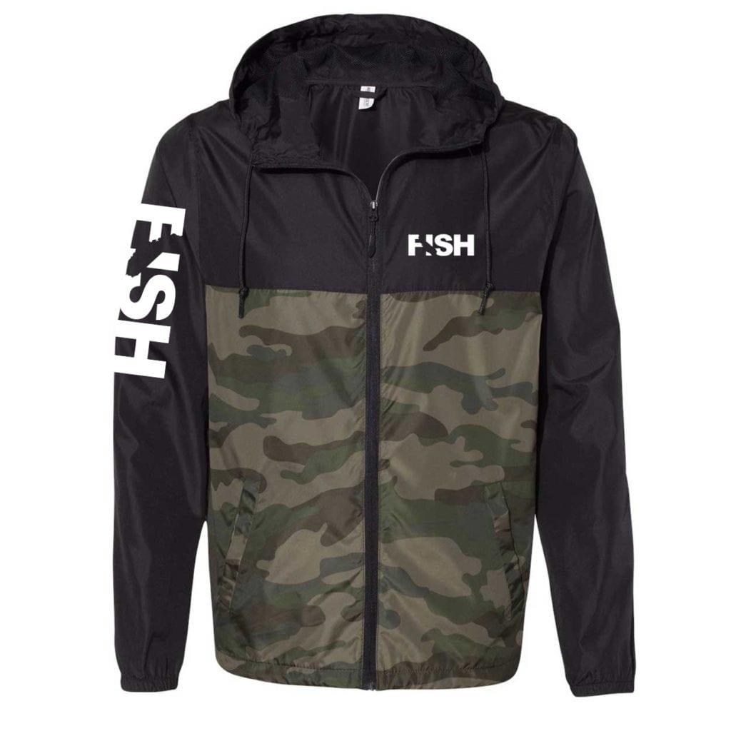 Fish California Classic Lightweight Windbreaker Black/Forest Camo (White Logo)