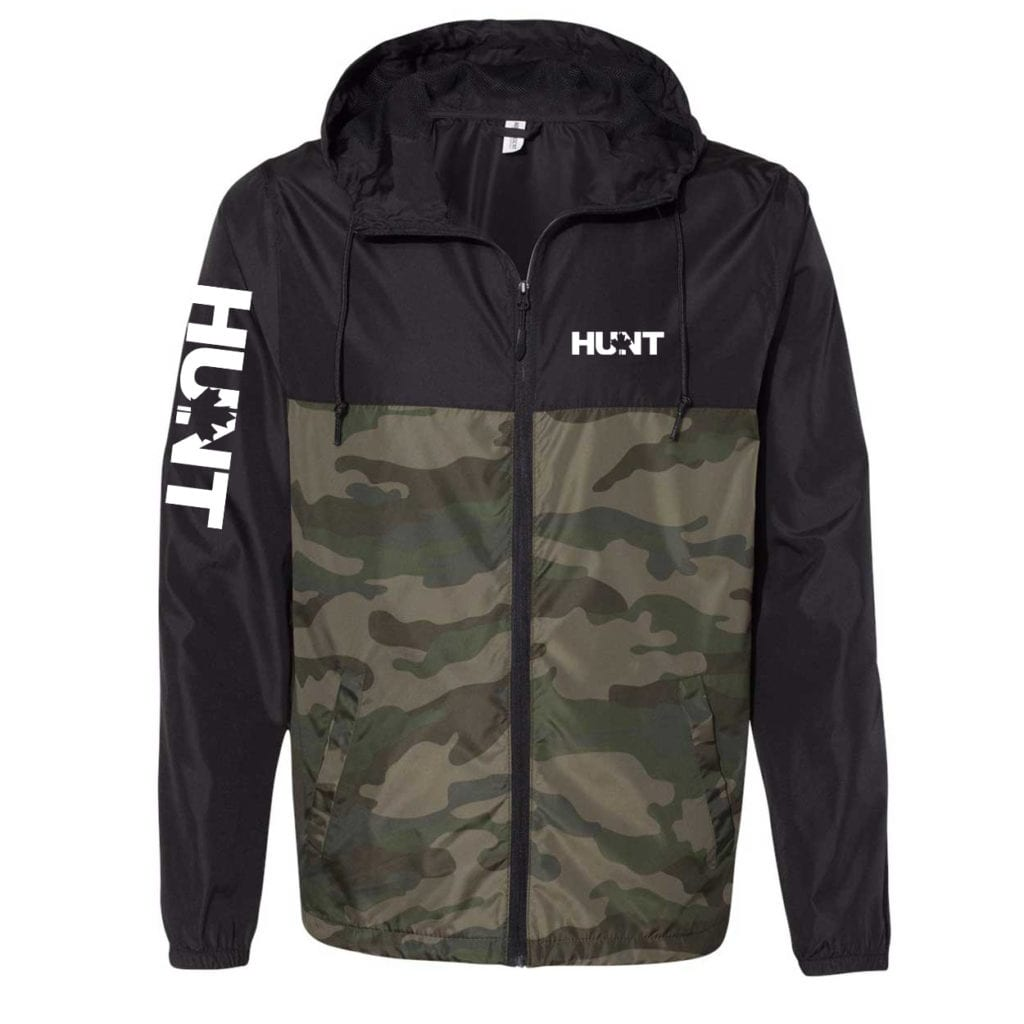 Hunt Canada Classic Lightweight Windbreaker Black/Forest Camo (White Logo)