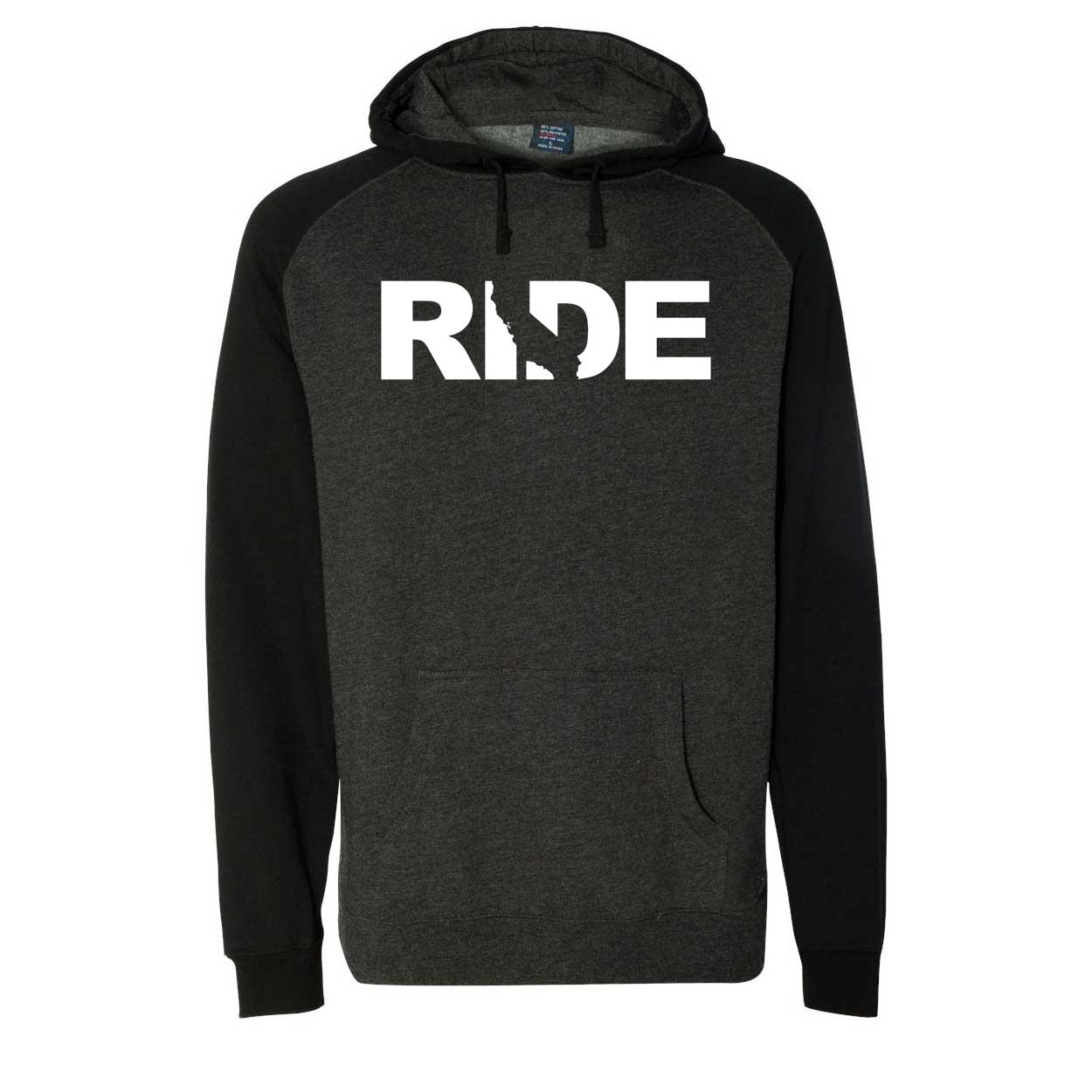Ride California Classic Raglan Hooded Pullover Sweatshirt Charcoal/Heather Black (White Logo)