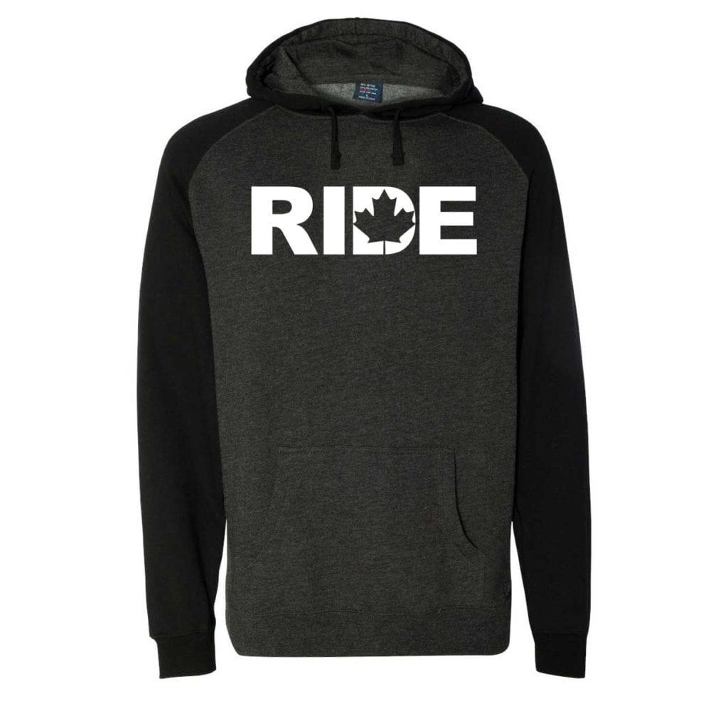 Ride Canada Classic Raglan Hooded Pullover Sweatshirt Charcoal/Heather Black (White Logo)