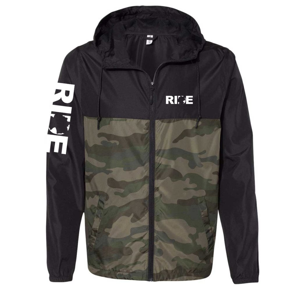 Ride Germany Classic Lightweight Windbreaker Black/Forest Camo (White Logo)