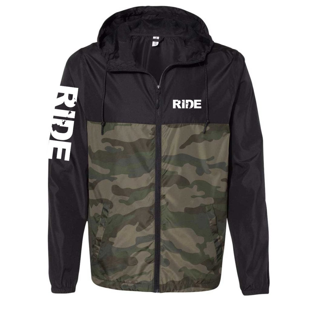 Ride Hawaii Classic Lightweight Windbreaker Black/Forest Camo (White Logo)