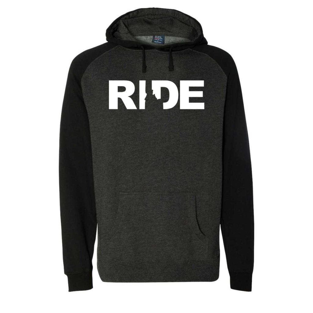Ride Idaho Classic Raglan Hooded Pullover Sweatshirt Charcoal/Heather Black (White Logo)